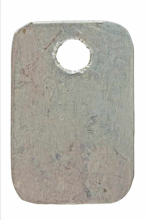 Etiqueta do metal fotografia de stock
