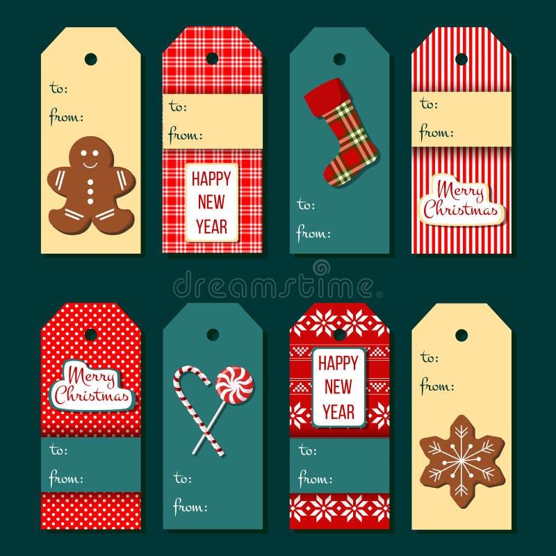 Tag do Natal Grupo de etiqueta engraçado do Natal ilustração stock