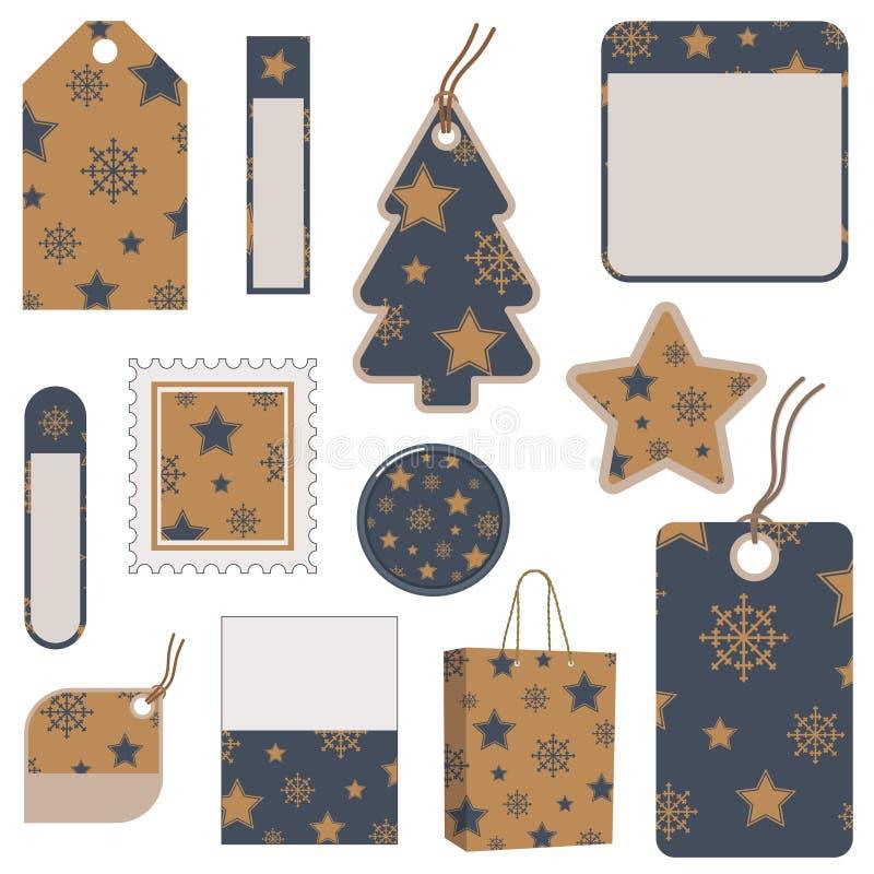 Tag do Natal na marinha e no ouro ilustração royalty free