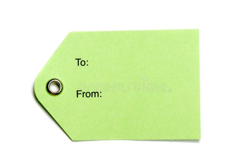 Tag do papel verde imagem de stock royalty free