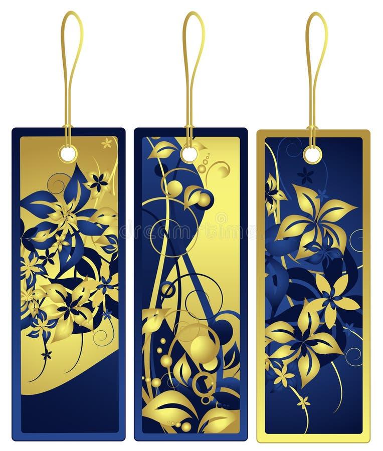 Tag do presente com projeto floral, vetor ilustração stock
