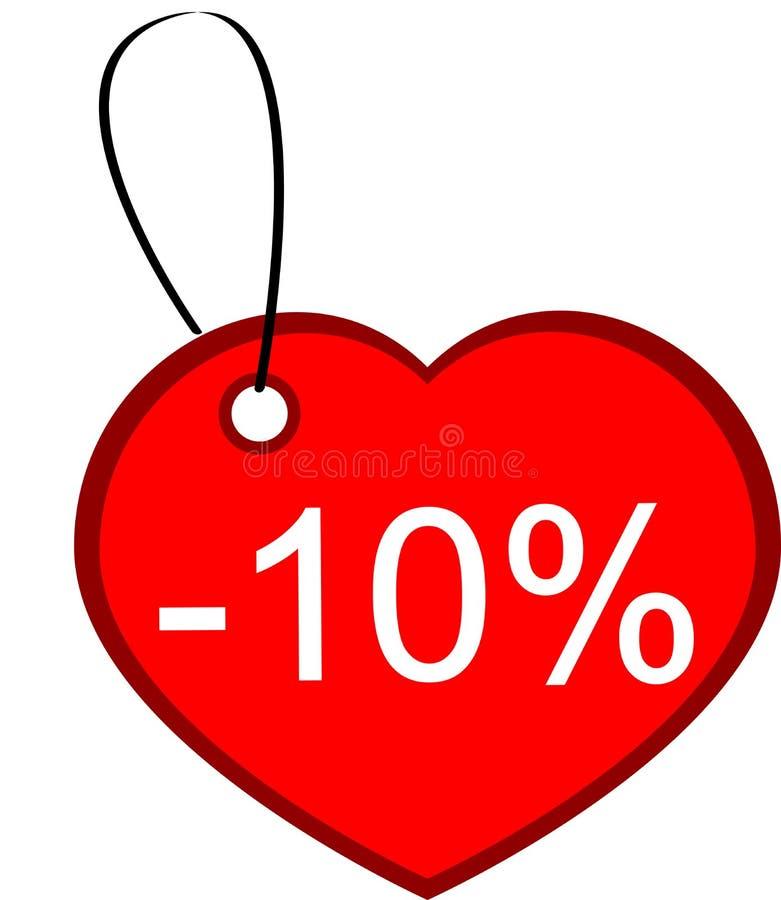Tag do presente do coração ilustração royalty free