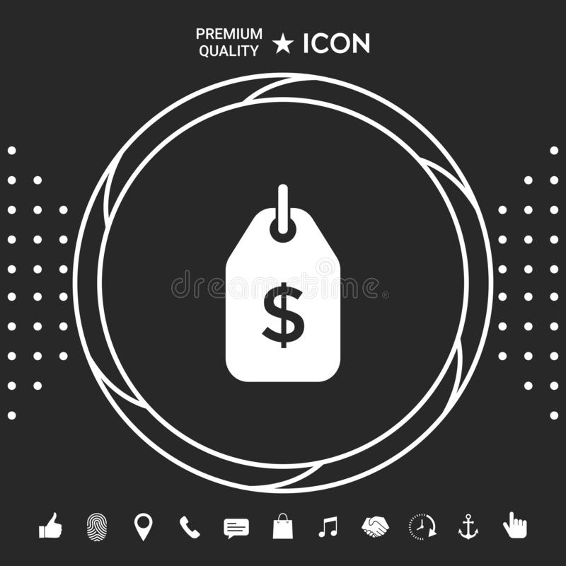 Tag with dollar symbol. Price tag icon for download . Graphic elements for your designt stock illustration