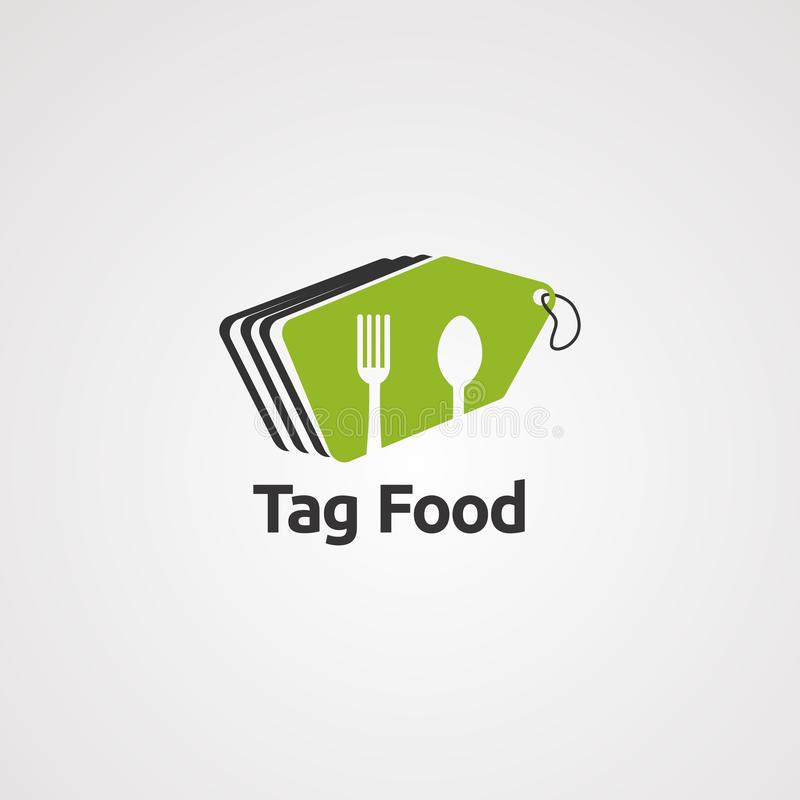 Tag food logo vector, icon, element, and template vector illustration