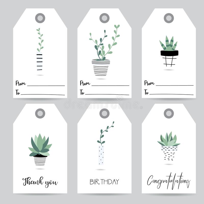 Tag and label with cute green cactus stock illustration