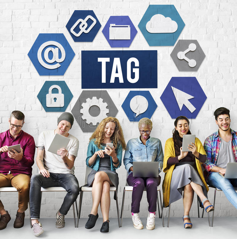 Tag Label Technology Word Graphic Concept.  stock images