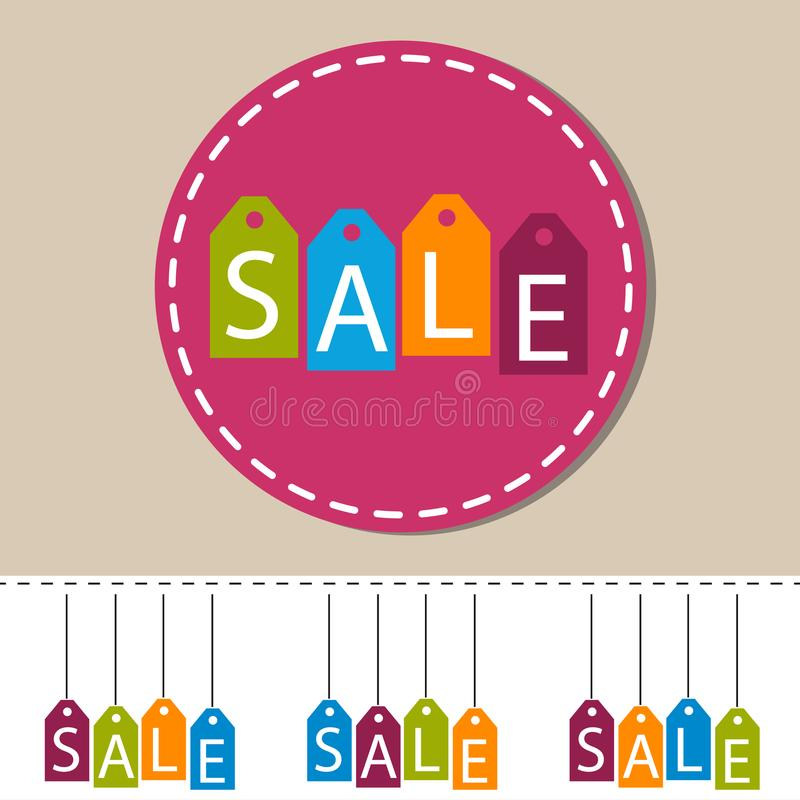 Tag Labels Sale - Colorful Vector Icons - Isolated On White stock illustration