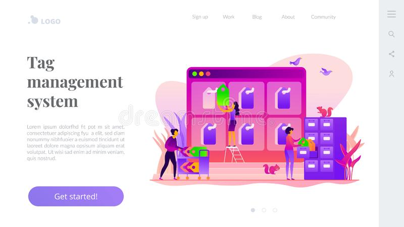 Tag management landing page template. Tag management system, e-marketing tagging tool, tag data collection and web analytics concept. Website homepage interface stock illustration