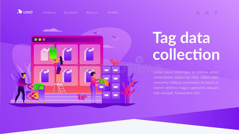 Tag management landing page template. Tag management system, e-marketing tagging tool, tag data collection and web analytics concept. Website homepage interface royalty free illustration