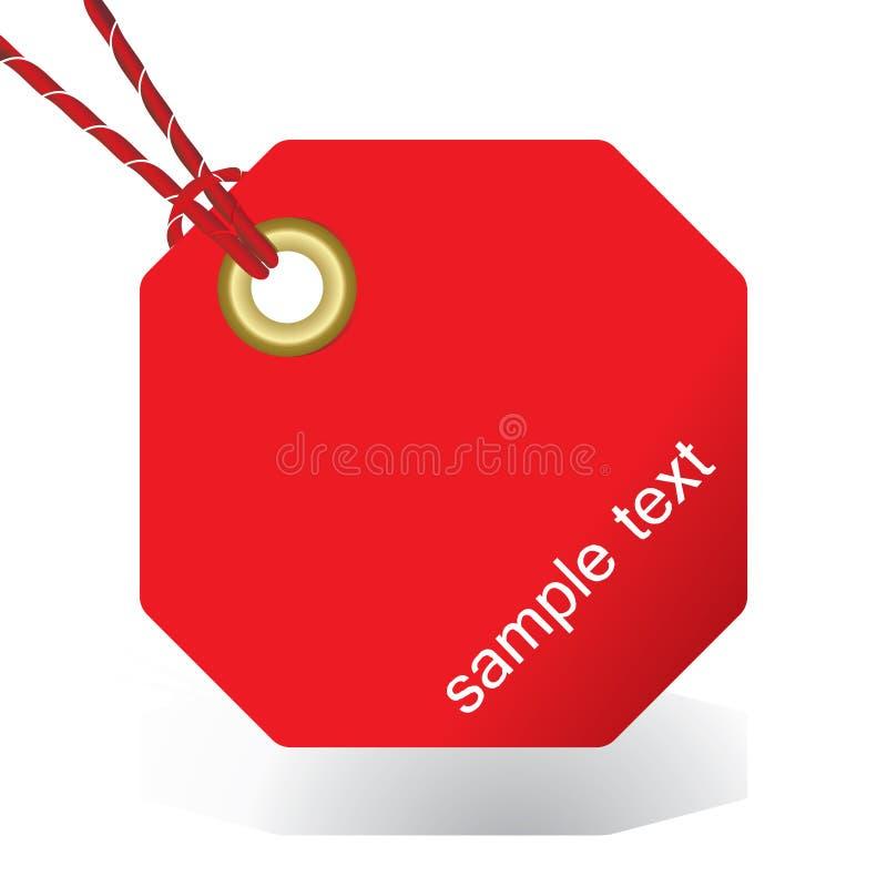 Tag ou etiqueta vermelha amarrada ilustração royalty free