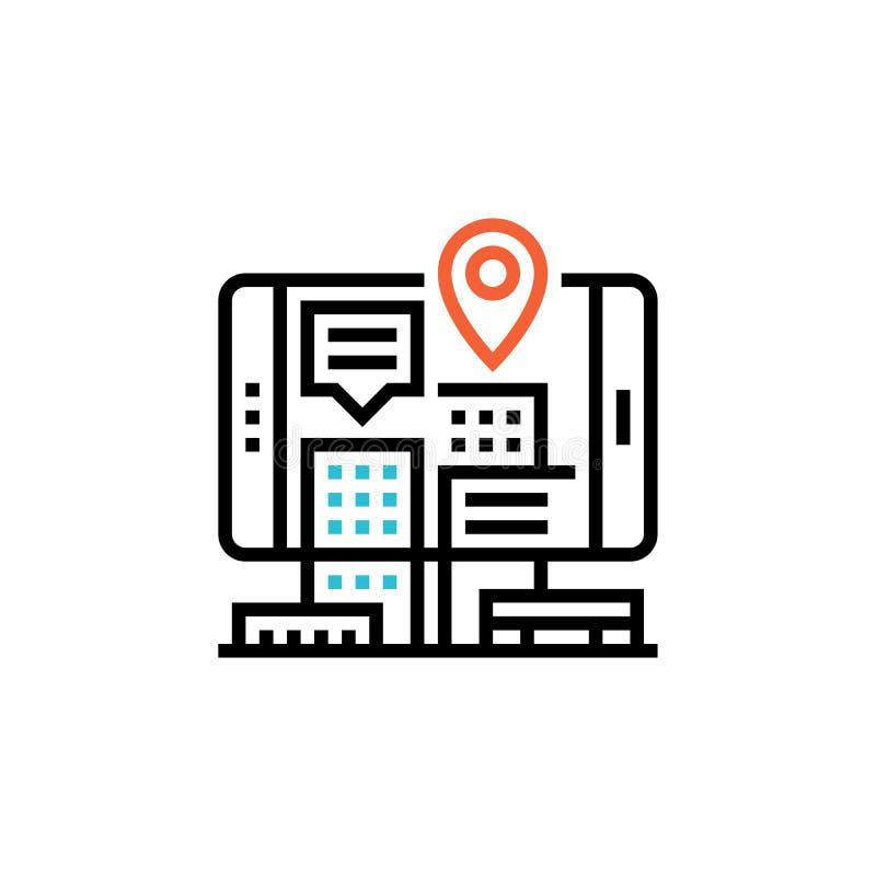 Tag Przypięcie geograficzne na wyświetlaczu telefonu komórkowego Smartfon z mapą na ekranie GPS, miejsce docelowe, podróż, nawiga ilustracja wektor