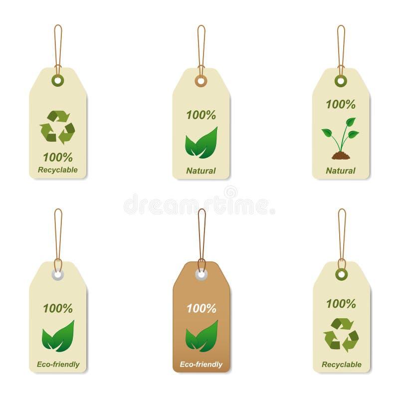 Tag Recyclable e naturais ilustração do vetor