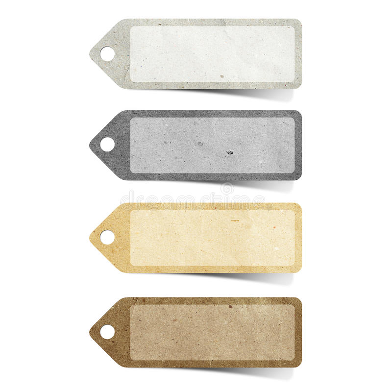 Tag recycled paper craft. Stick on white background royalty free stock photo