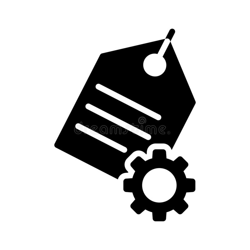 Tag setting glyph flat vector icon. Tag setting vector icon. Elements for mobile concept and web apps. Thin line icons for website design and development, app royalty free illustration