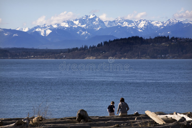 Tag am Strand Edmonds Washington stockfoto