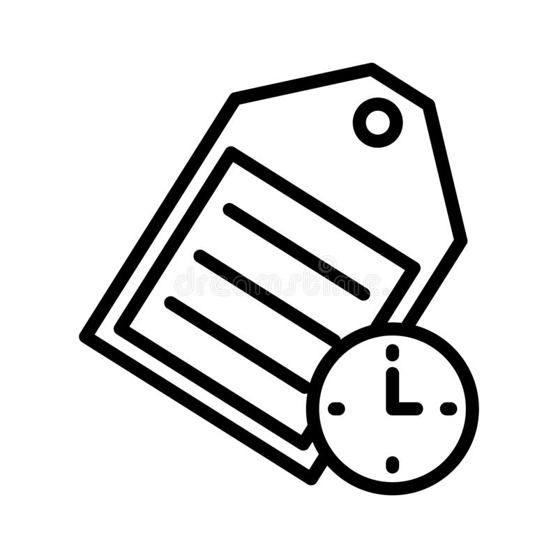 Tag time thin line vector icon. Tag time vector icon. Elements for mobile concept and web apps. Thin line icons for website design and development, app vector illustration