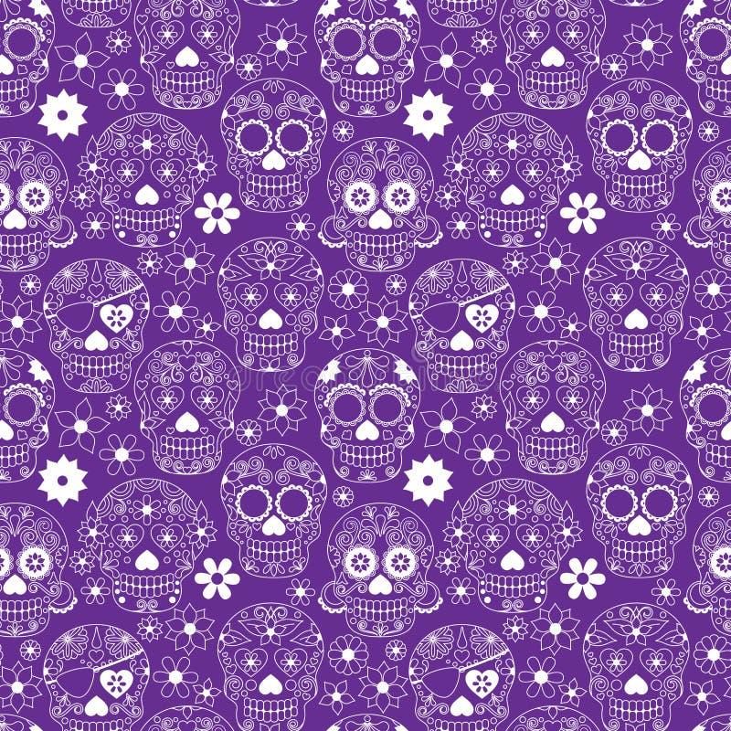 Tag toten Sugar Skull Seamless Vector Backgrounds lizenzfreie abbildung