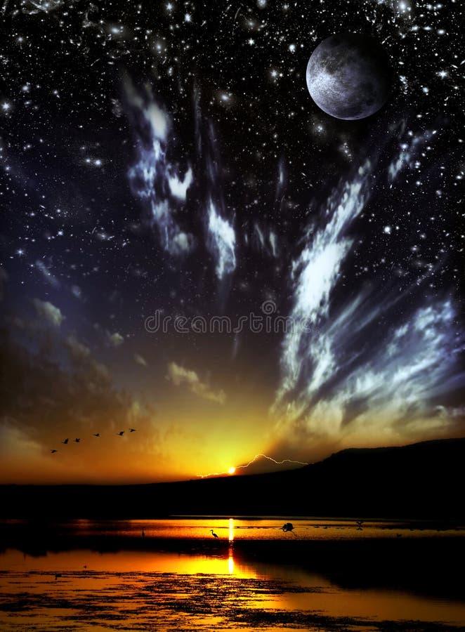 Tag und Nacht Konzept lizenzfreie abbildung