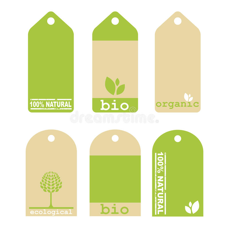 Tag Verdes Da Ecologia Foto de Stock Royalty Free