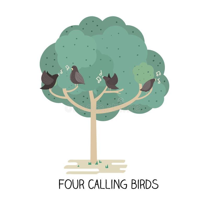 Tag 12 von Weihnachten - nennender Vogel vier lizenzfreie abbildung