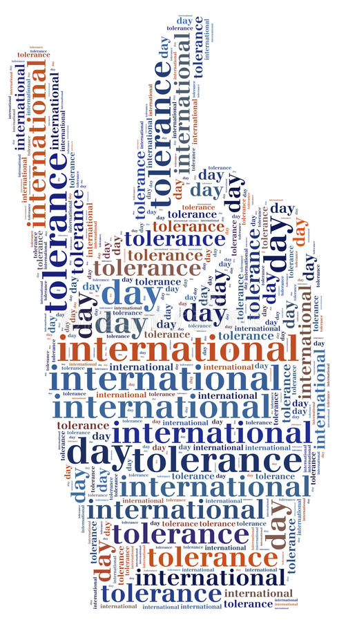 Tag or wor cloud international tolerance day related royalty free illustration