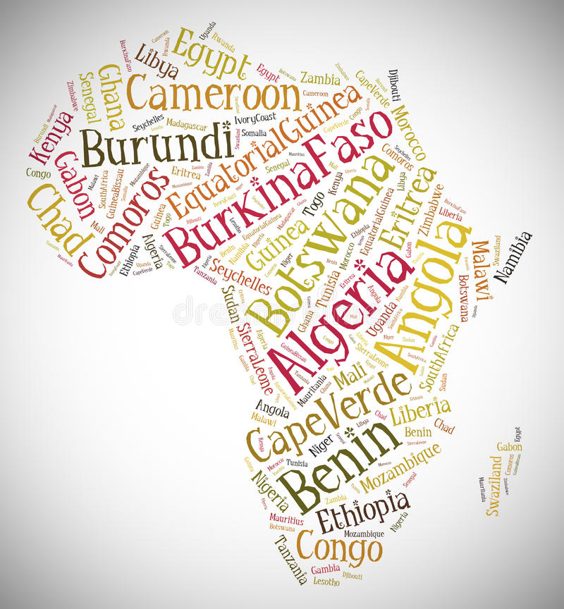 Tag or word cloud Africa related in shape of continent