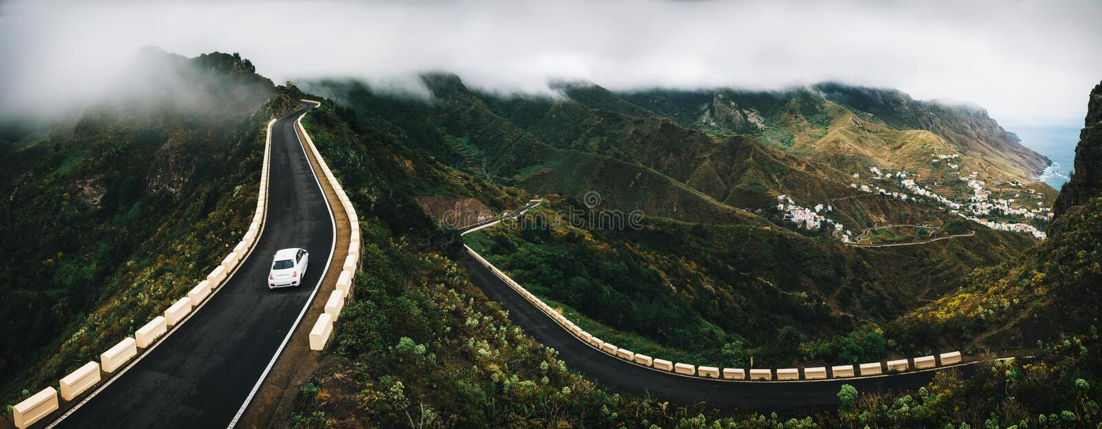 Taganana village with winding road in Tenerife stock photo