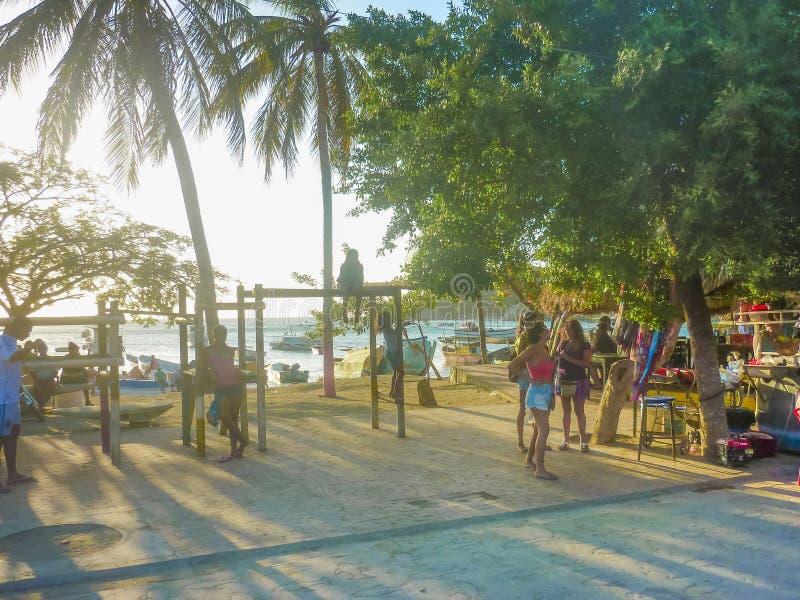 Taganga木板走道在哥伦比亚 库存图片
