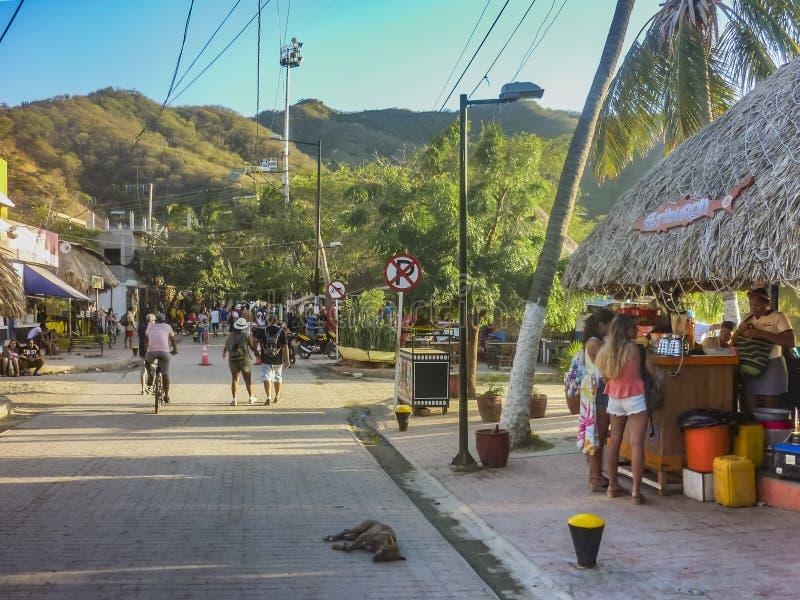 Taganga木板走道在哥伦比亚 免版税库存照片