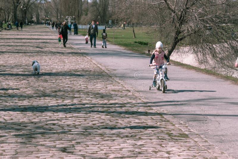 Taganrog, Rosja - 07 04 19: mała dziewczynka w różowej kurtce jedzie bicykl zdjęcia royalty free