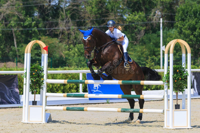 TAGANROG, ROSTOV-ON-DON REGION, AUGUST 6, 2017: Competitions in equestrian sport, devoted to the Day of Liberation of the Neklinov. Skiy district. Horsewoman in royalty free stock photography