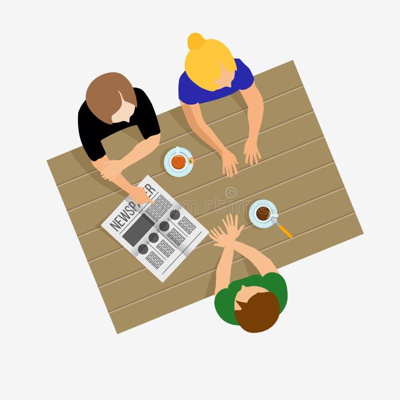 Tagarelice das meninas As meninas comunicam-se Conversa das meninas Café da manhã, almoço ilustração stock