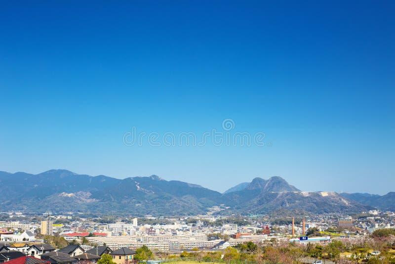 Tagawa市看法在Tagawa,福冈,日本 免版税图库摄影