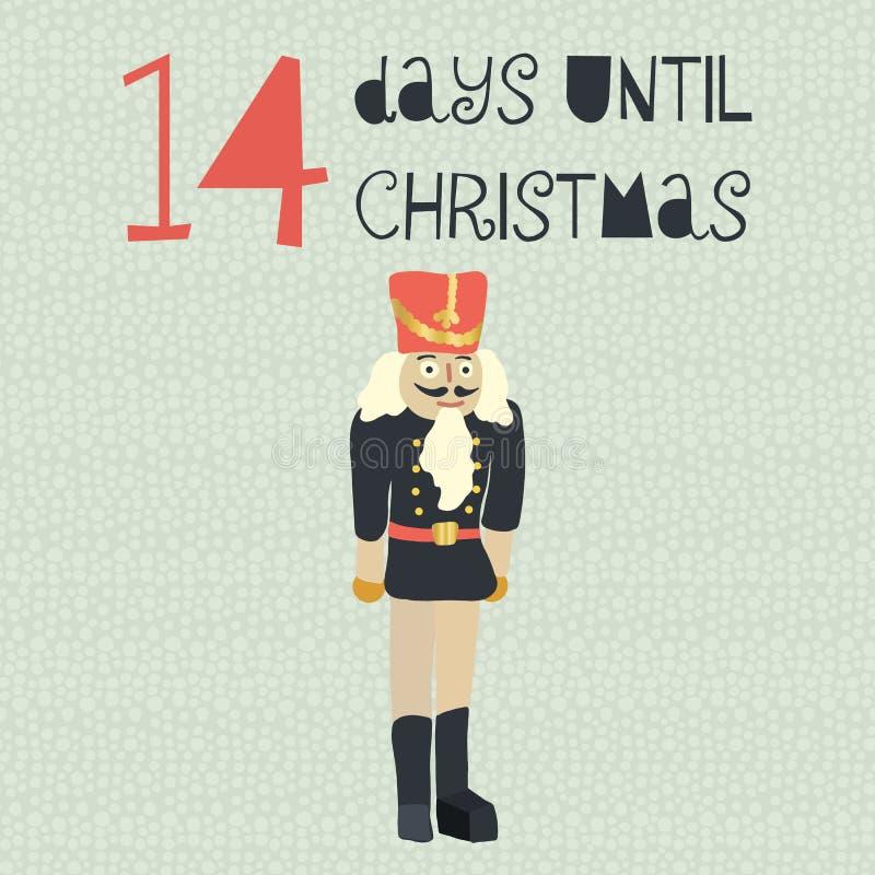 14 Tage bis Weihnachtsvektorillustration +EPS Zählimpuls die Tage 'bis Weihnachtstafel stock abbildung
