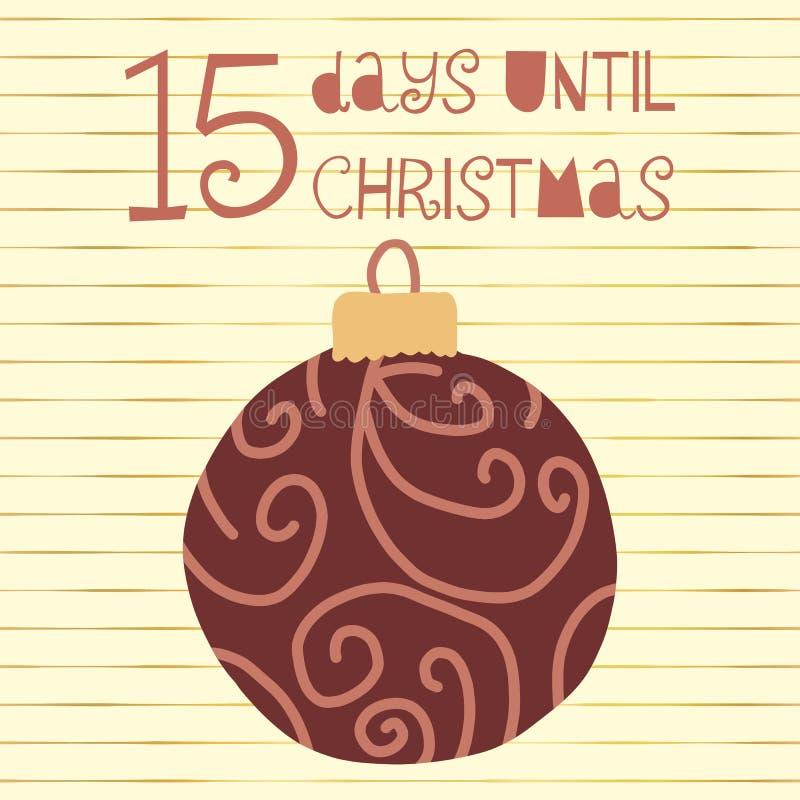 15 Tage bis Weihnachtsvektorillustration +EPS Zählimpuls die Tage 'bis Weihnachtstafel stock abbildung