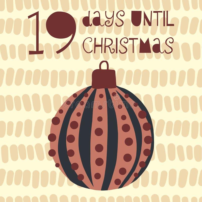 19 Tage bis Weihnachtsvektorillustration +EPS Zählimpuls die Tage 'bis Weihnachtstafel vektor abbildung