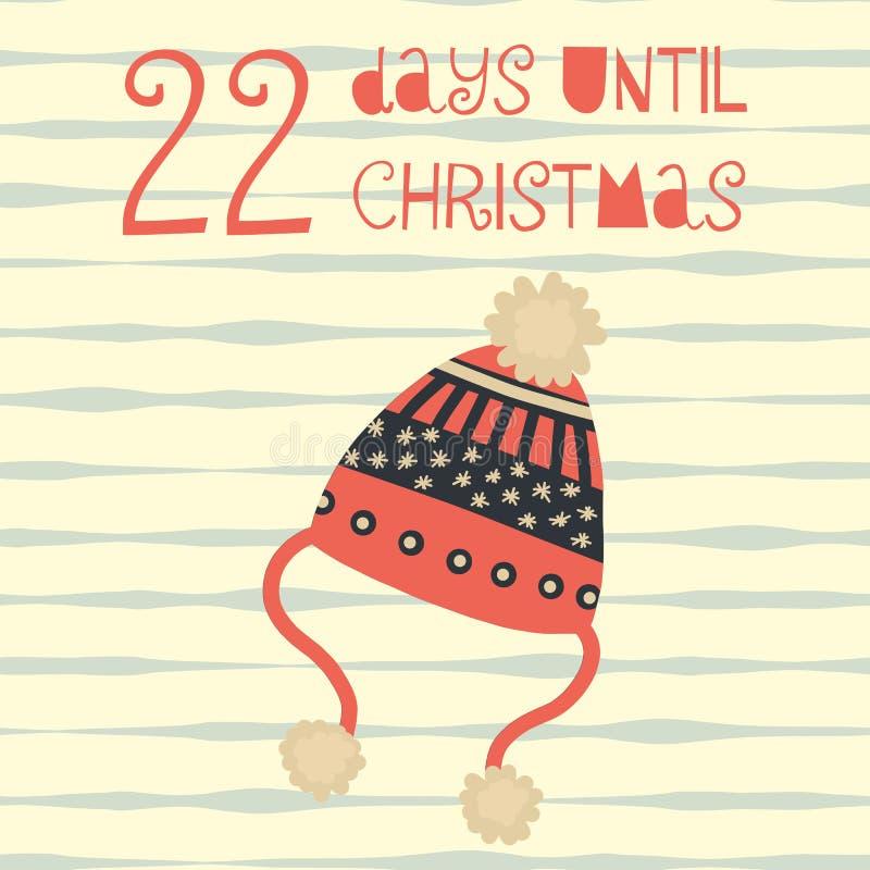22 Tage bis Weihnachtsvektorillustration +EPS Zählimpuls die Tage 'bis Weihnachtstafel stock abbildung