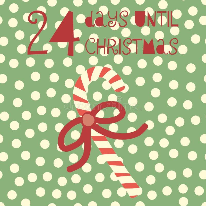 24 Tage bis Weihnachtsvektorillustration +EPS Zählimpuls die Tage 'bis Weihnachtstafel stock abbildung