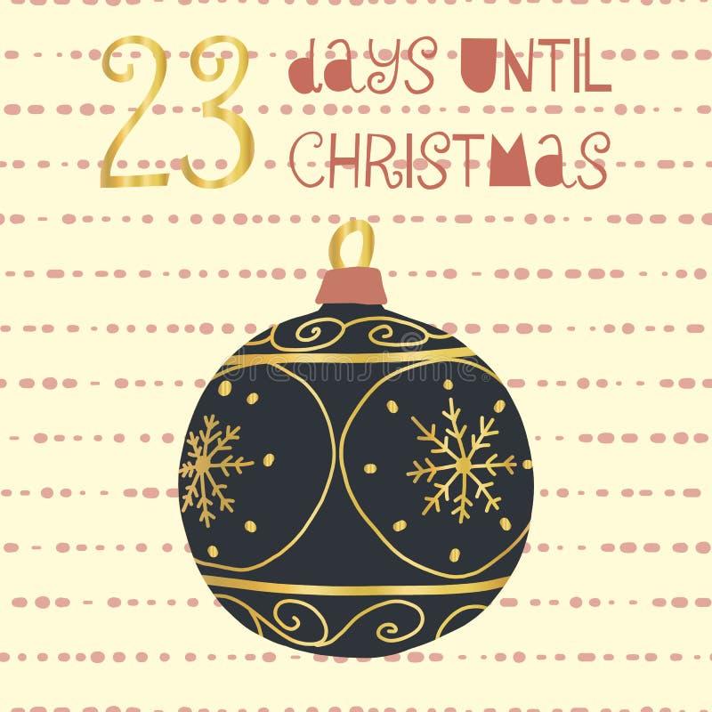 23 Tage bis Weihnachtsvektorillustration +EPS Zählimpuls die Tage 'bis Weihnachtstafel stock abbildung
