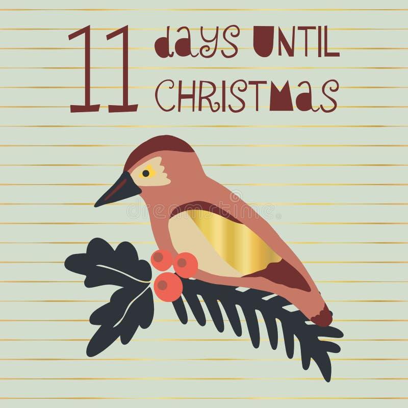 11 Tage bis Weihnachtsvektorillustration Weihnachtscountdown elf Tage bis Sankt Skandinavische Art der Weinlese Hand gezeichnet lizenzfreie abbildung