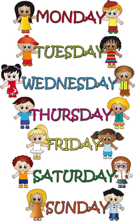 Tage der Woche lizenzfreie abbildung