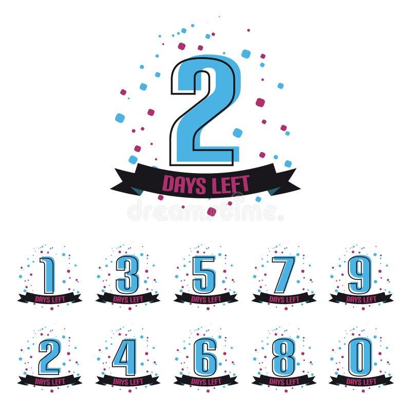 Tage ließen Nr. null bis neun - Vektor-Illustration - lokalisiert auf weißem Hintergrund stock abbildung