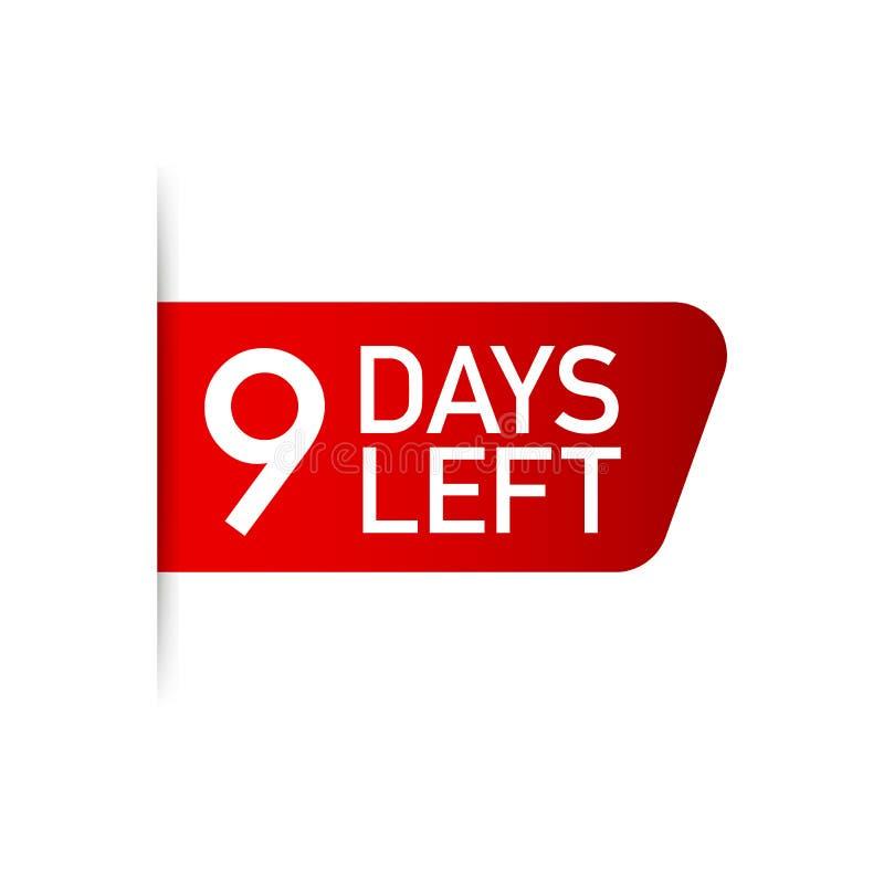 9 Tage ließen roten Aufkleber auf weißem Hintergrund Auch im corel abgehobenen Betrag lizenzfreie abbildung