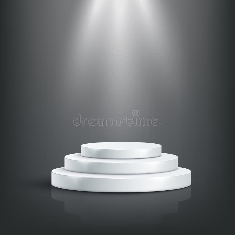 Tage podium with light, Stage Podium Scense with for Award Ceremony on black backgroundIlustração vetorial ilustração royalty free