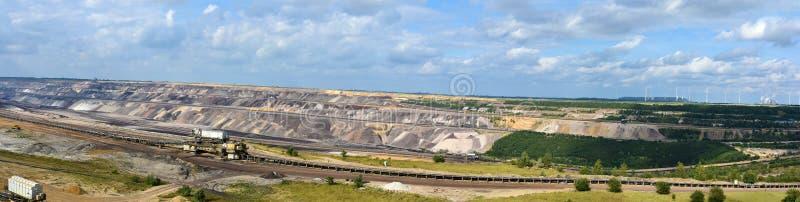 Tagebau Braunkohle, eine Landschaft wird zerstört stockbilder