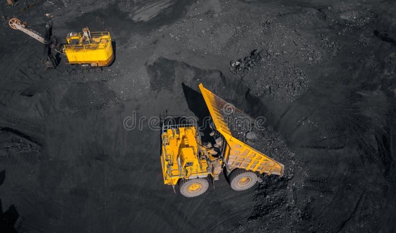 Tagebaubergwerk, mineralgewinnende Industrie f?r Kohle, Draufsichtluftbrummen stockfotos