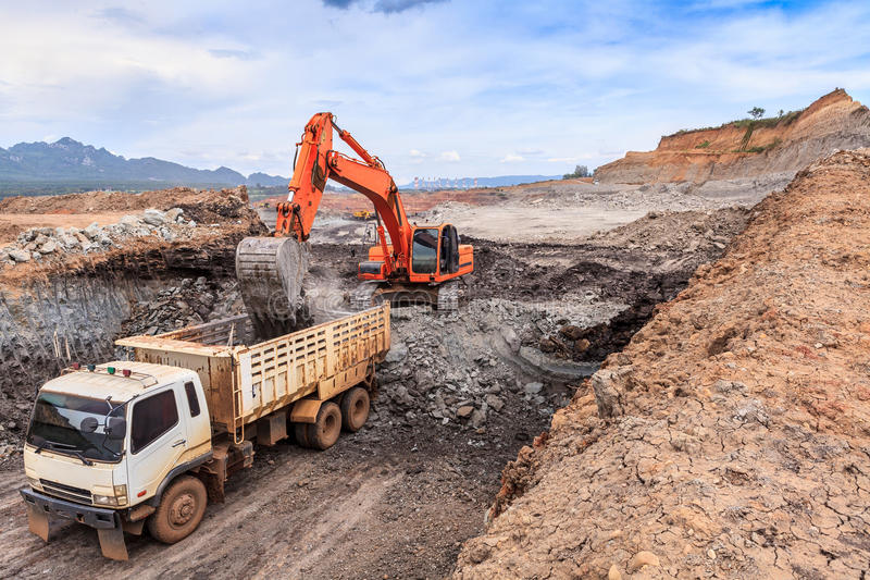Tagebaubraunkohlenbergwerk stockfoto
