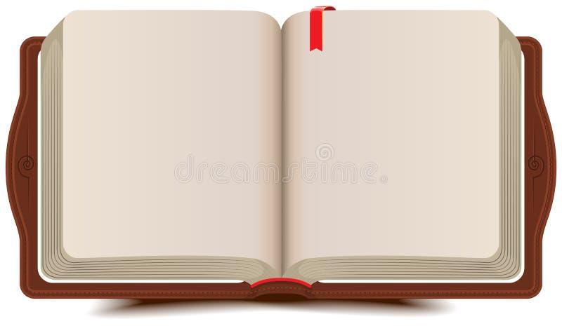 Tagebuch des offenen Buches mit Bookmark lizenzfreie abbildung