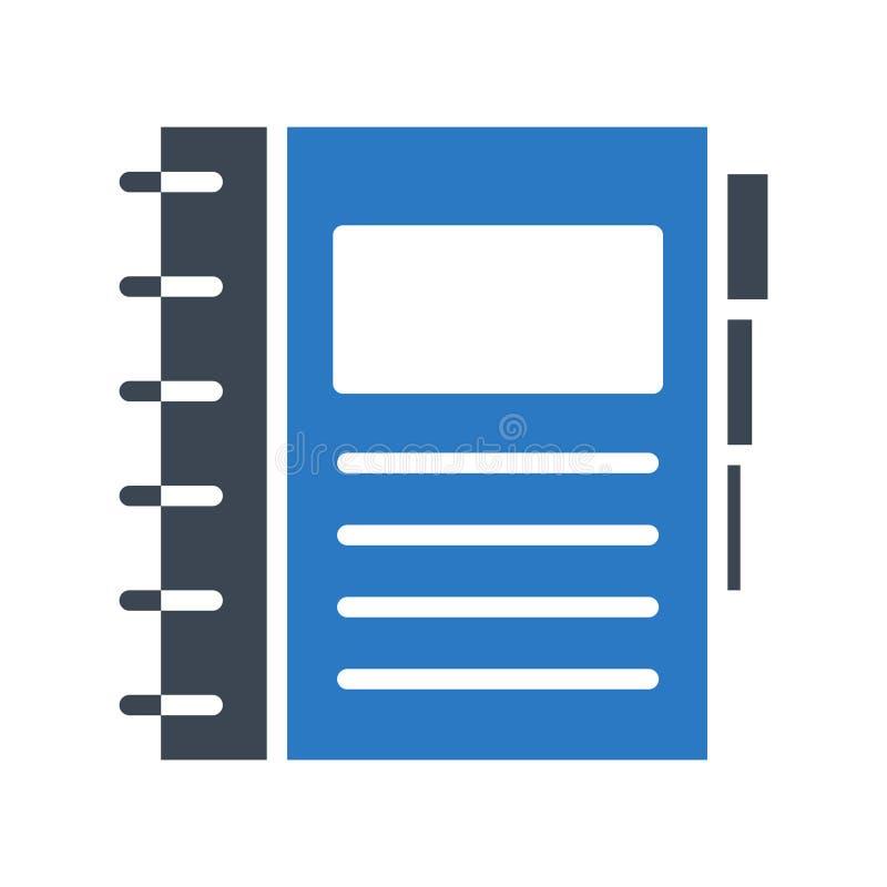 Tagebuch Glyphs färben Vektorikone vektor abbildung