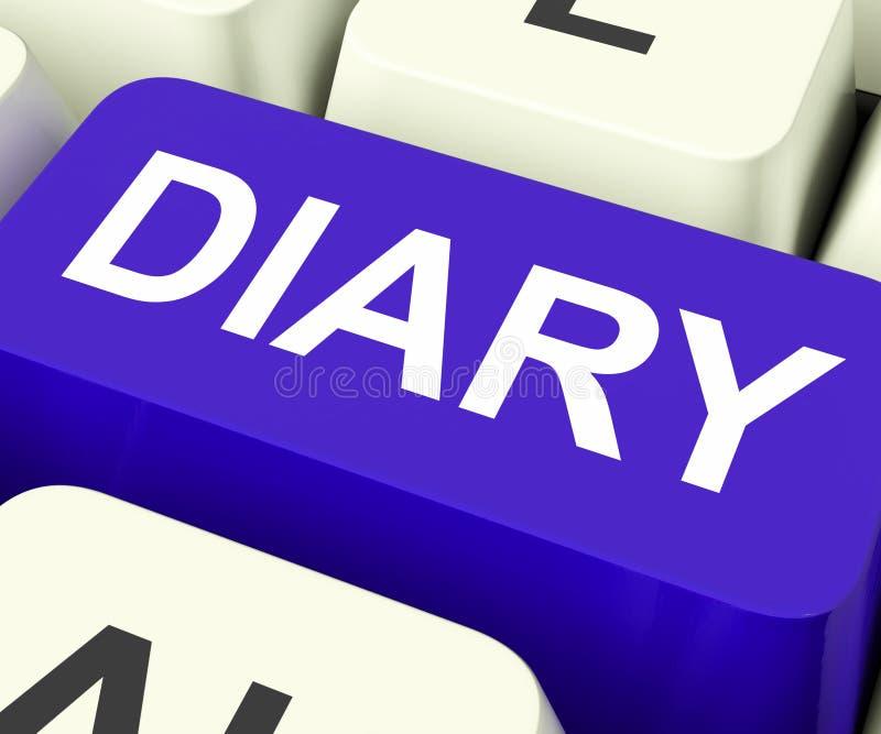 Tagebuch-Schlüssel zeigt on-line-Planer oder Zeitplan lizenzfreie stockbilder